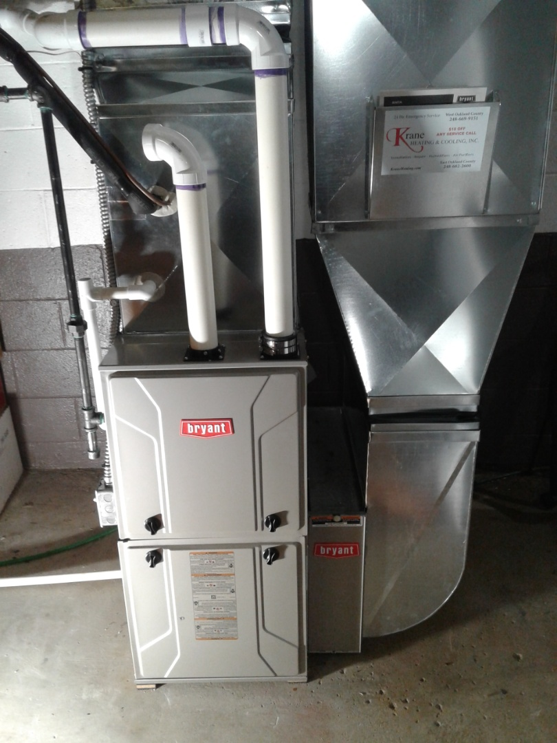 Waterford Township, MI - Replaced a low boy furnace with a 96% efficiency 2-stage Bryant