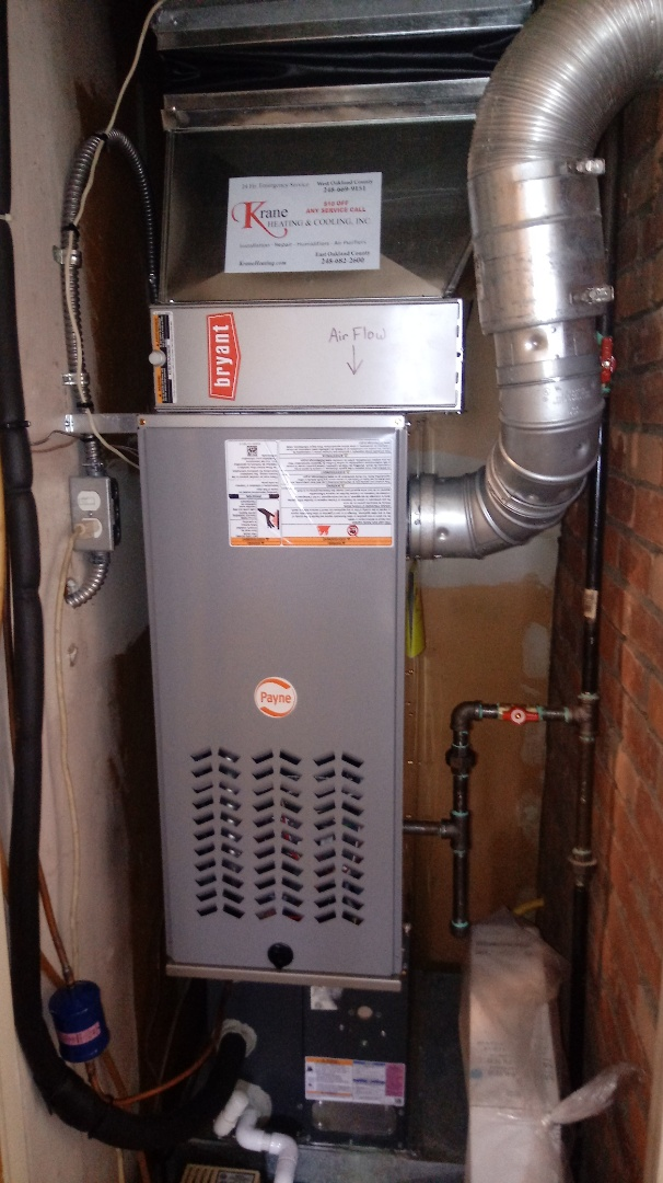 Commerce Charter Township, MI - Installed a Payne 80% efficient furnace