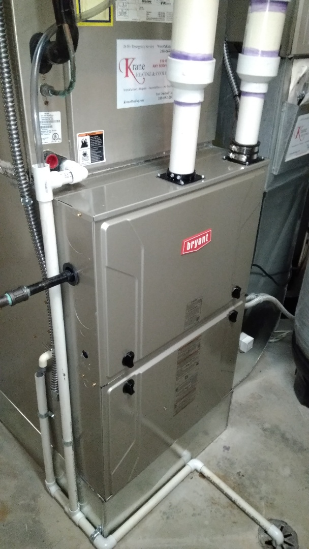 Commerce Charter Township, MI - Installed 120000 BTU Bryant furnace 90% efficient