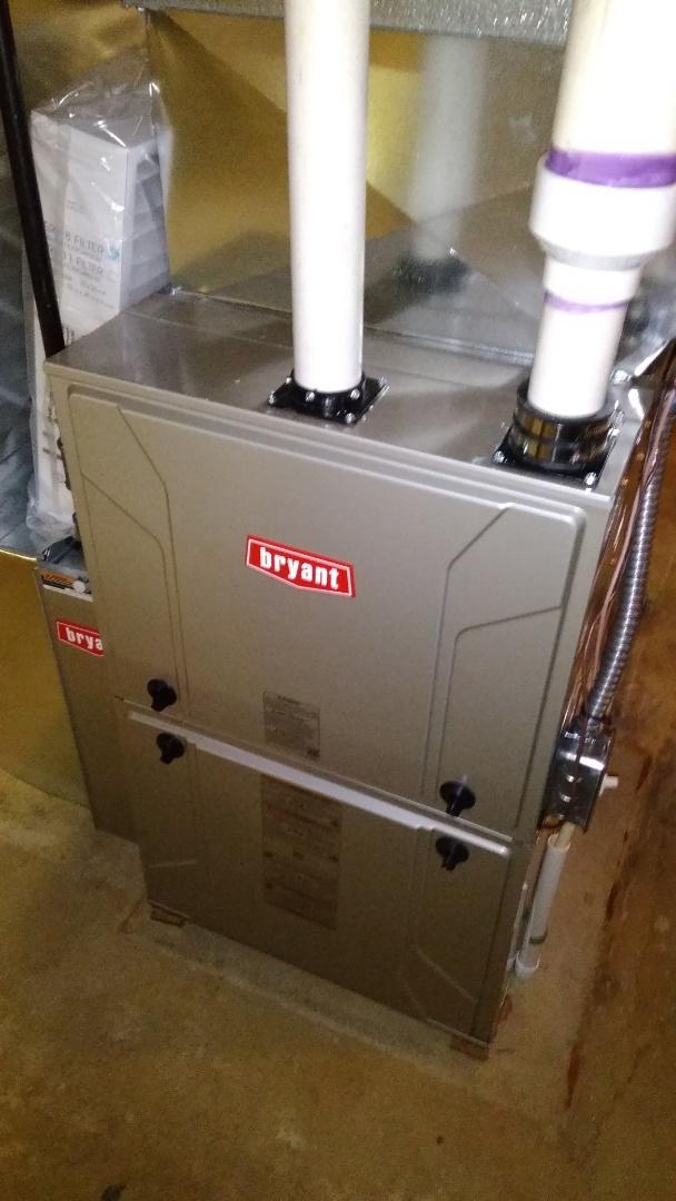 Installed a hundred thousand BTU Bryant furnace 90% efficient