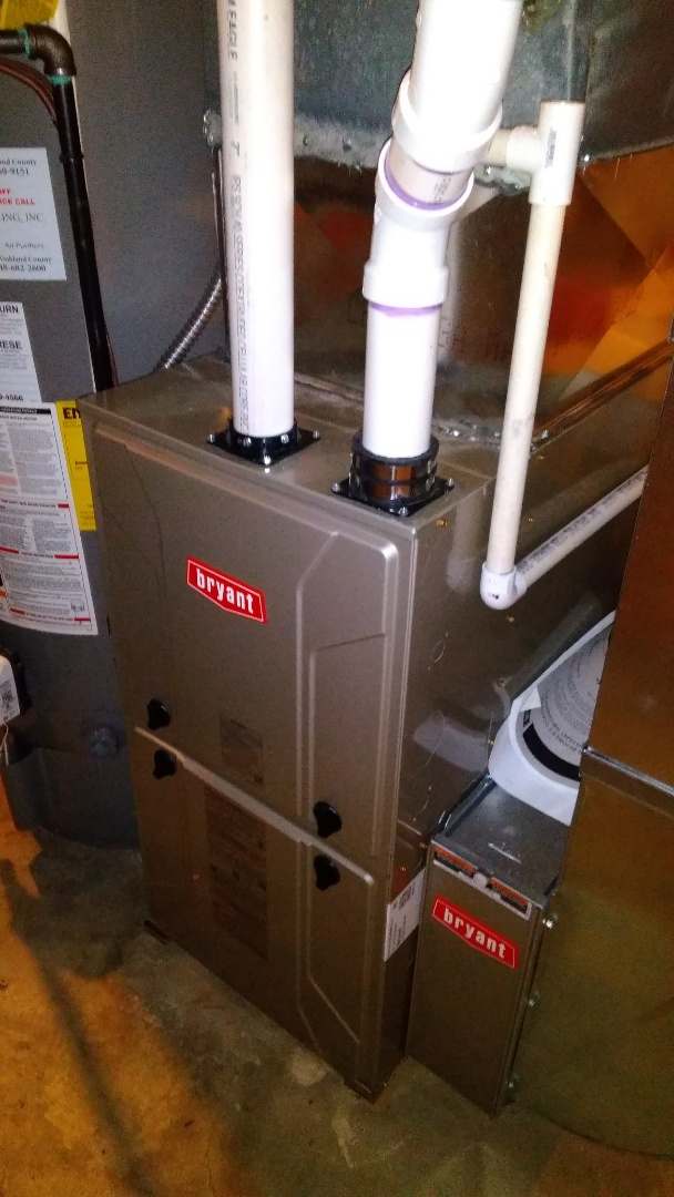 Commerce Charter Township, MI - Install 60,000 BTU Bryant furnace 90% efficient