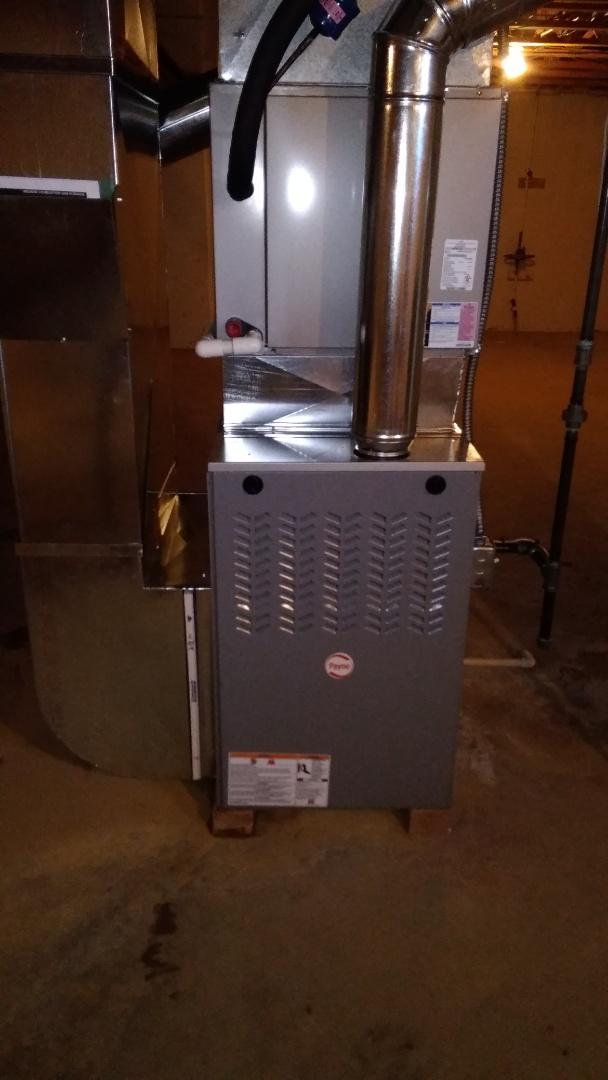 Novi, MI - Install 110000 BTU 80% efficient Payne furnace