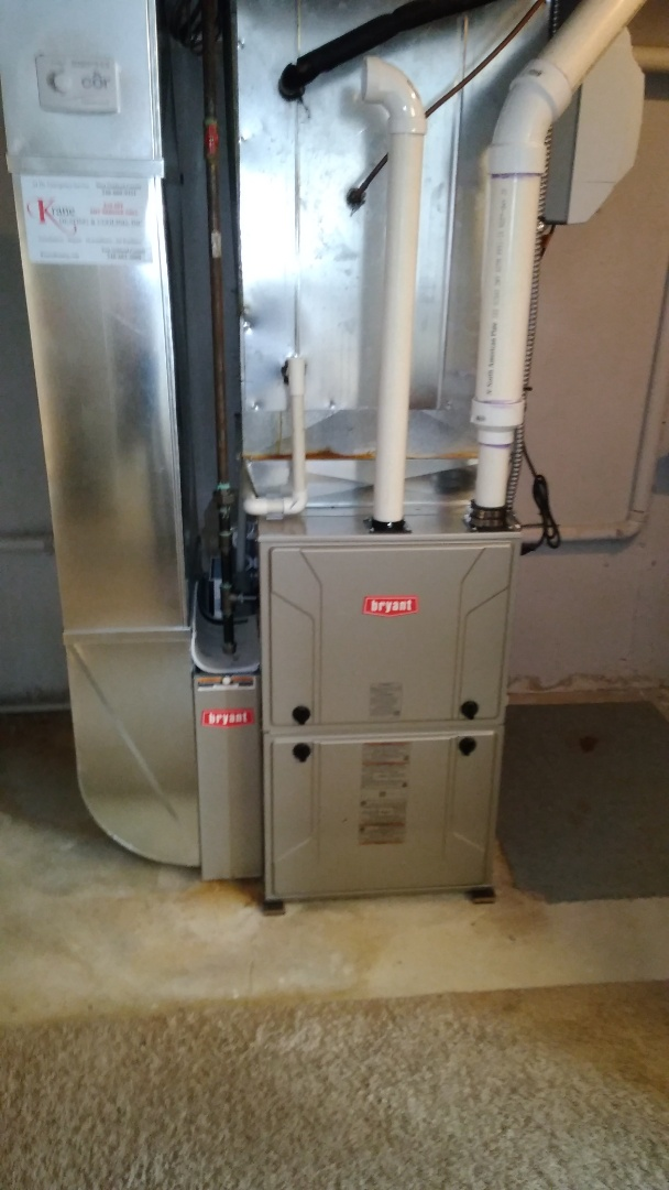 Clarkston, MI - Installed a hundred thousand BTU Bryant furnace 90% efficient