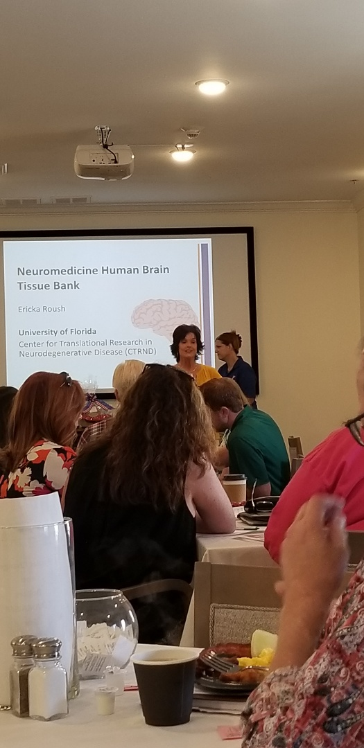 Great networking with wonderful healthcare providers.  We learned about the newest research on brain disorders and the brain bank. We learned how hiw nurses and caregivers can make a difference educating the public about brain donation after death. Thank you to those working to find a cure