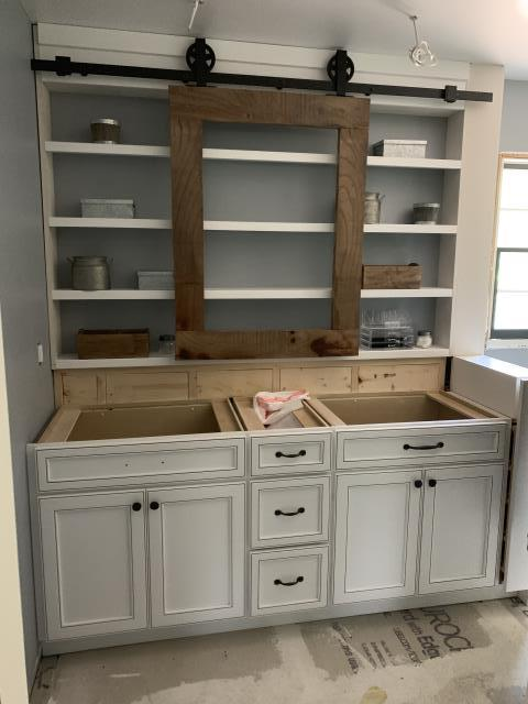 Damascus, MD - Vanity with a barn door mirror in progress...Beautiful!
