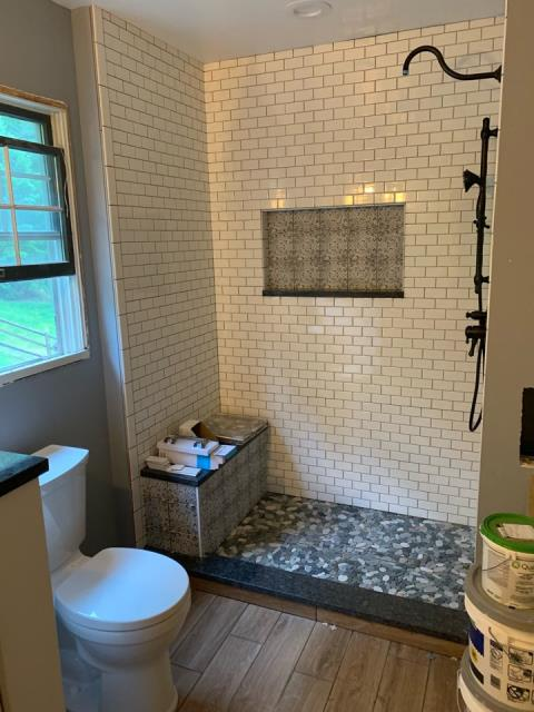 Damascus, MD - Work in Progress on a Shower for a Bathroom Remodel