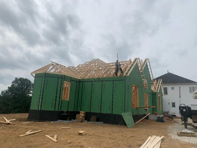 Glenwood, MD - Roof Trusses being set on a Large Addition Project