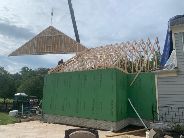 Glenwood, MD - Roof Trusses Installed
