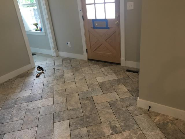 Columbia, MD - Installation of Travertine Tile in a Herringbone Pattern