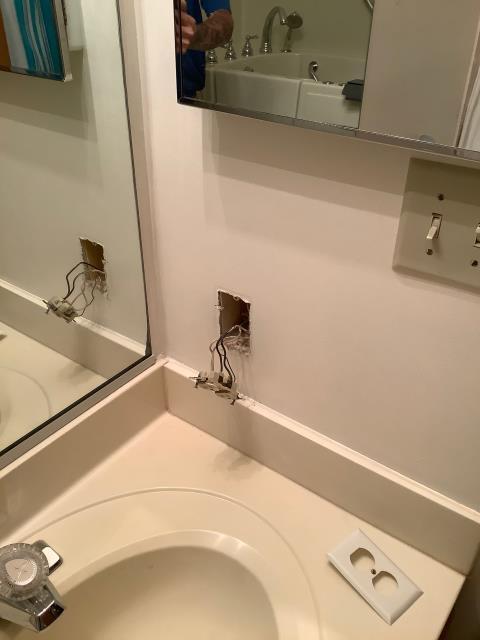 Fredericksburg, VA - Moving bathroom outlet