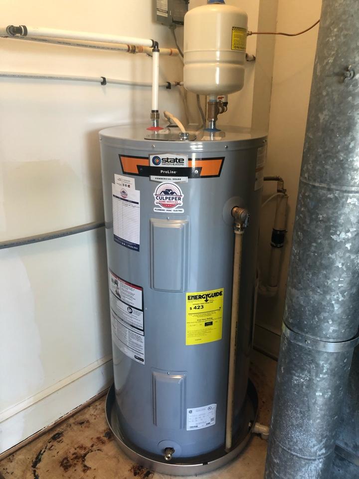 Installed customer supplied water heater in Rapidan