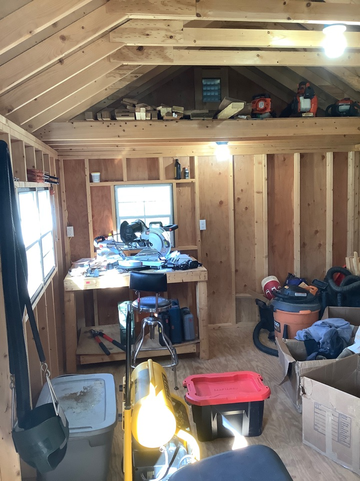 Ruckersville, VA - Ran power to shed. Wired up shed with outlets and lights.