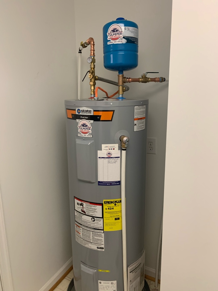 Installed new 50 gal electric water heater with booster valve.