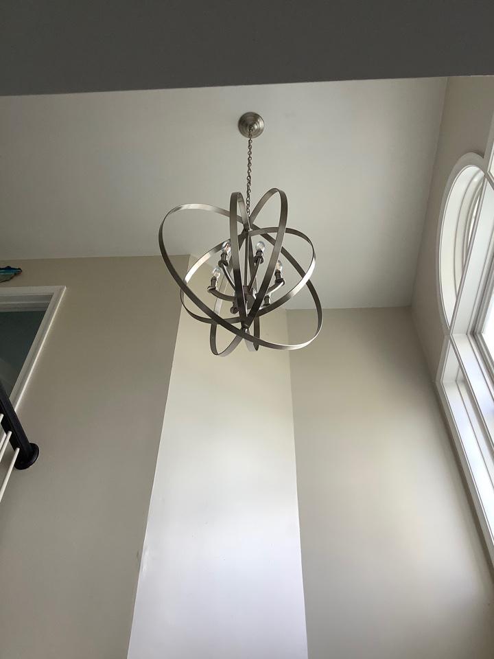 Stafford, VA - Installed chandelier in 20 ft foyer