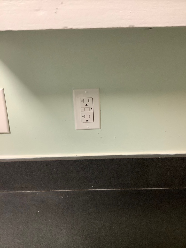 Installed gfci outlet in kitchen and capped off exposed wire in box