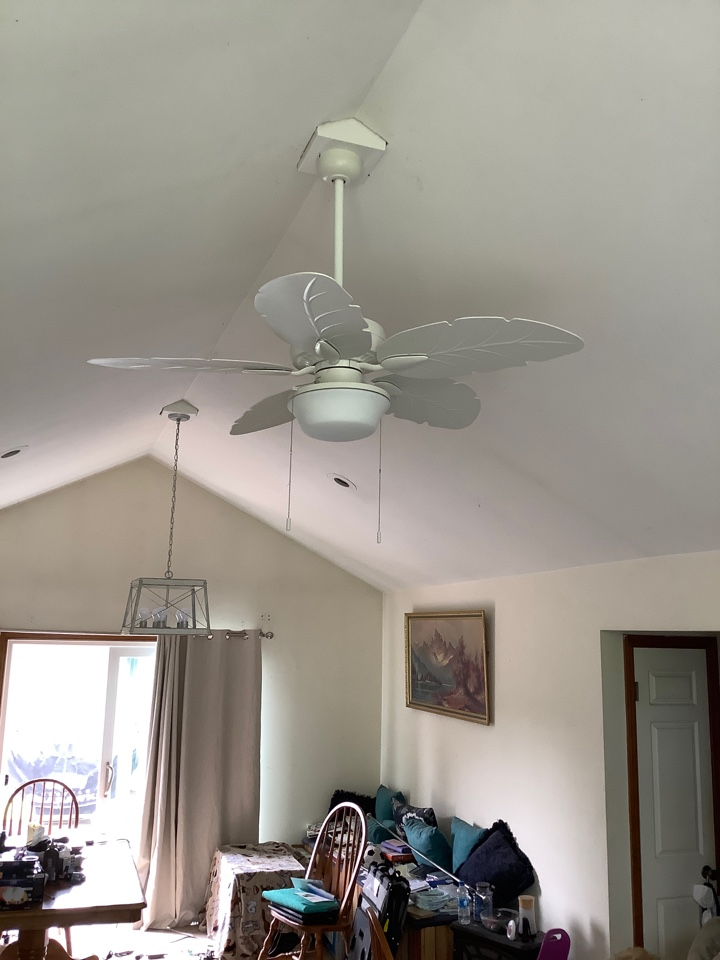 Installed cathedral ceiling boxes. Installed ceiling fan and chandelier on those boxes