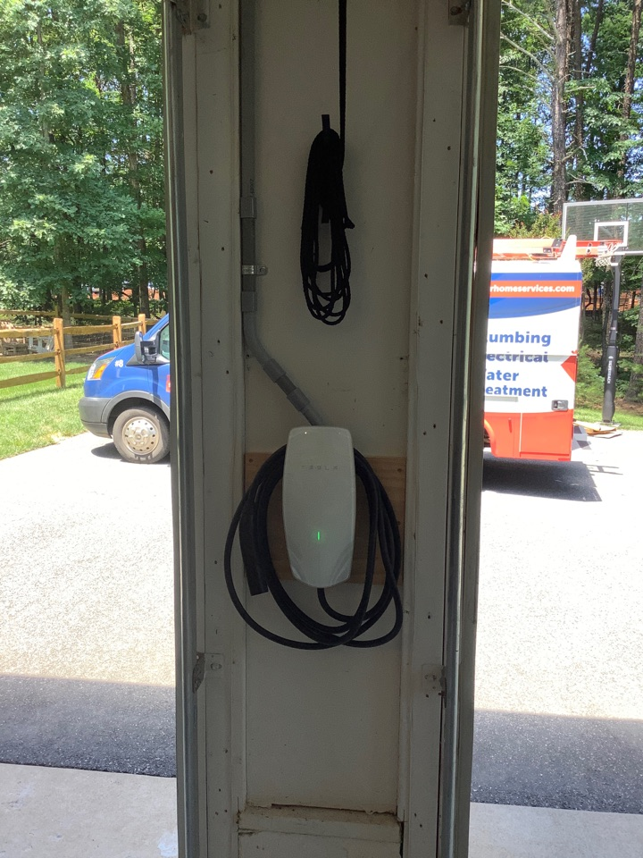 Wired and installed tesla charger