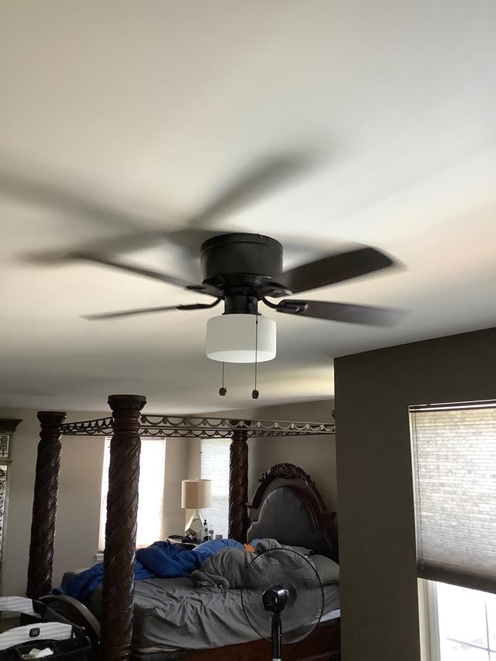 Installed ceiling fan