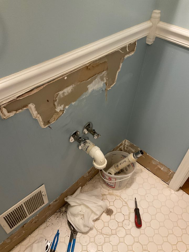 Removed pedestal sink