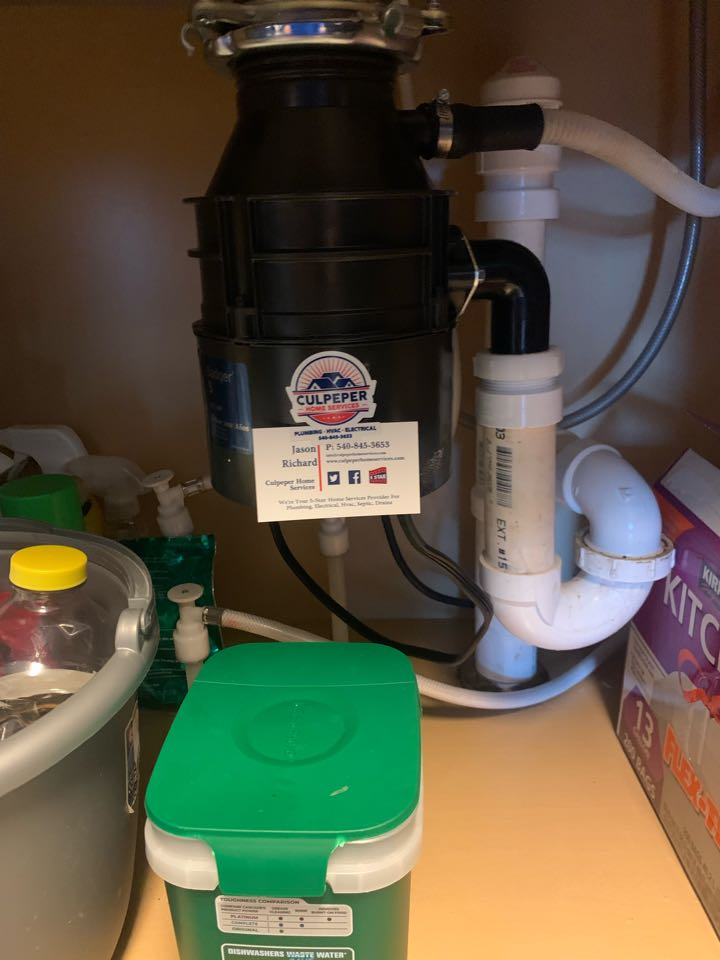 Supplied and installed new disposal