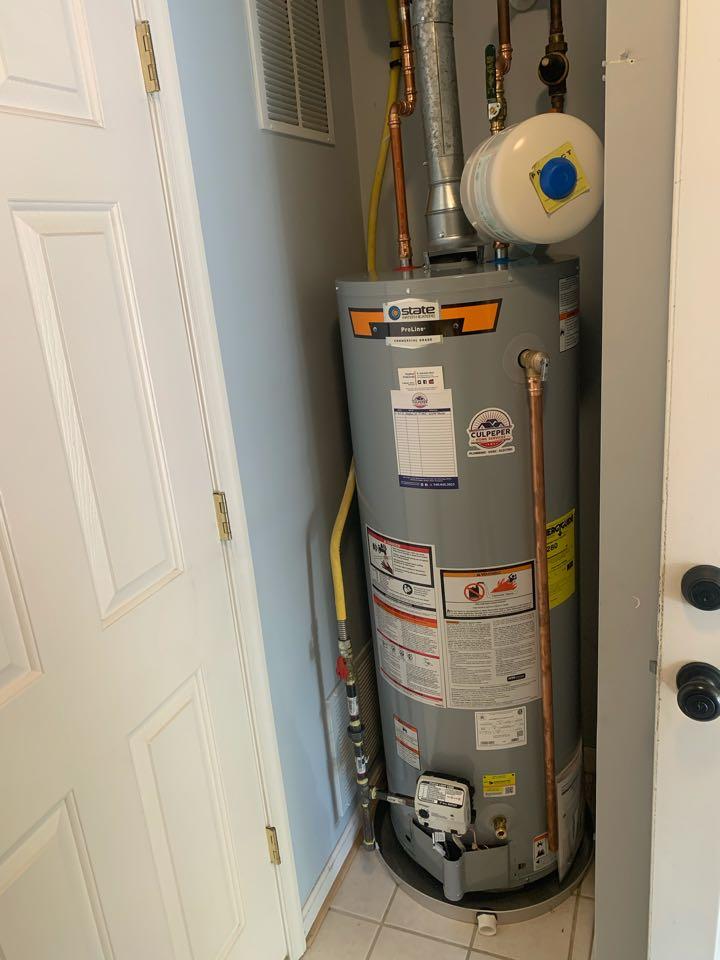 Culpeper, VA - Installing a natural gas water heater in Culpeper