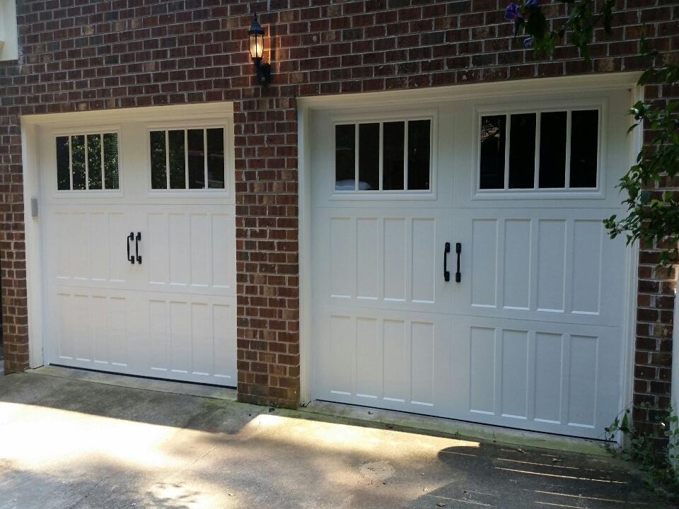 Clayton, NC - Installing 2 new Amarr Classica garage doors and Liftmaster belt drive garage door operators.