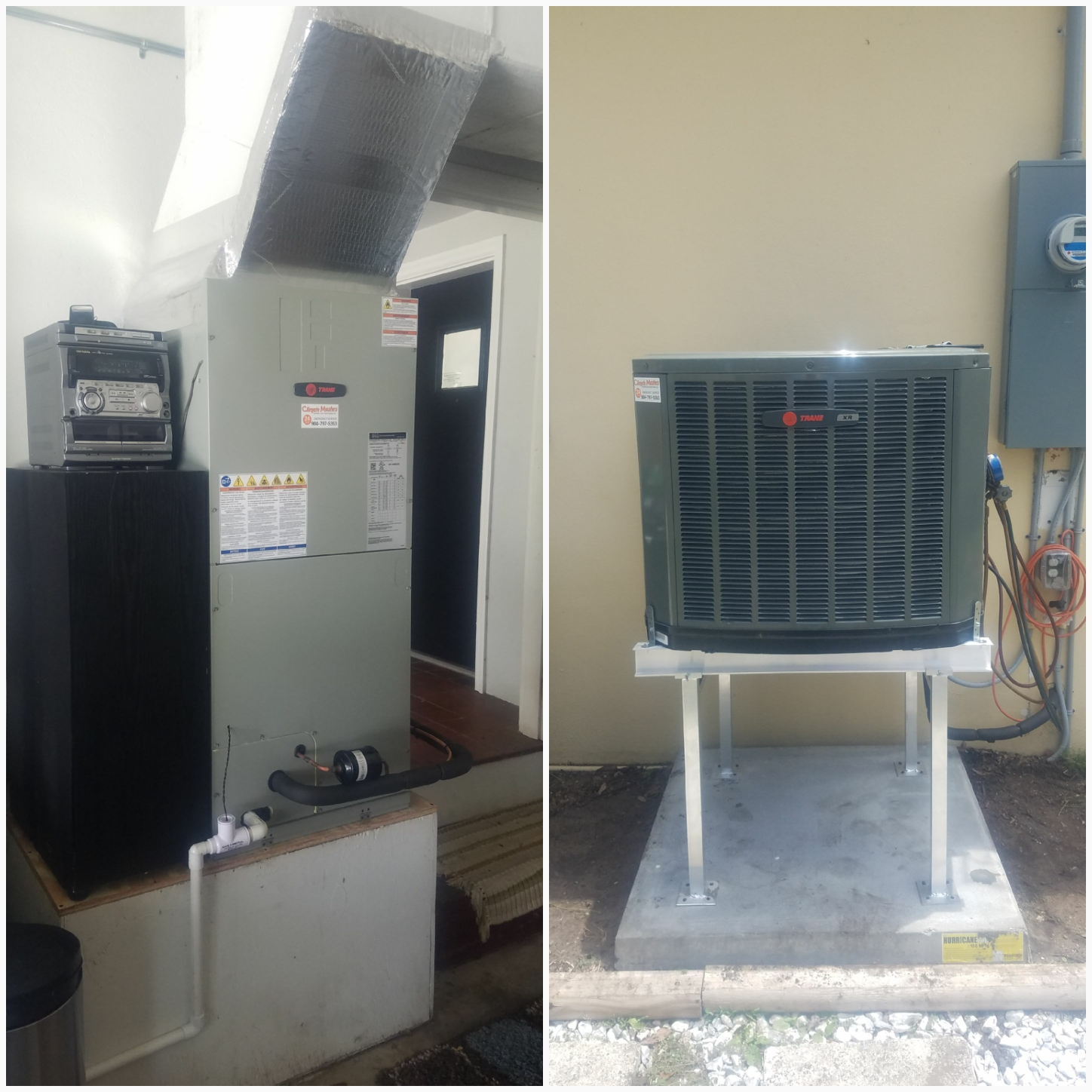 St. Augustine, FL - Installed new trane units and raised condenser on metal stand