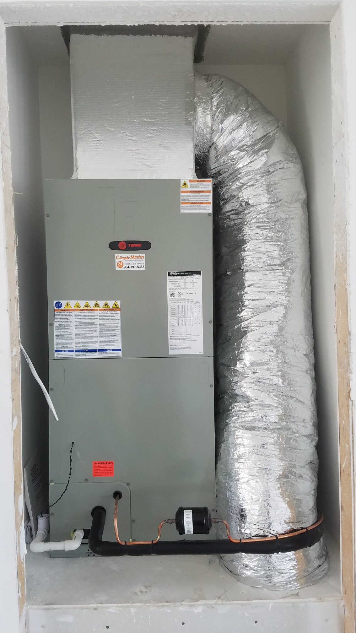 St. Augustine, FL - Installed new trane unit in new construction