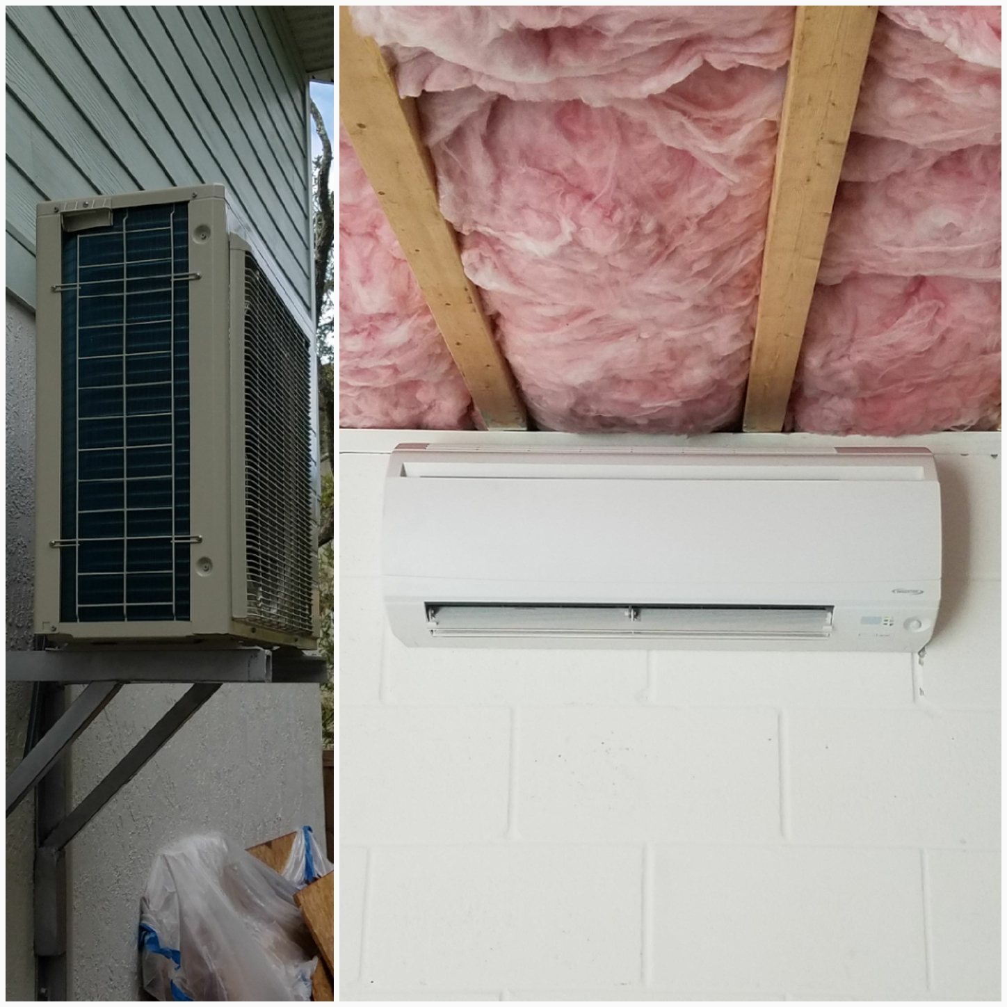 St. Augustine, FL - Installed mini split and hung condenser eight feet up on bracket