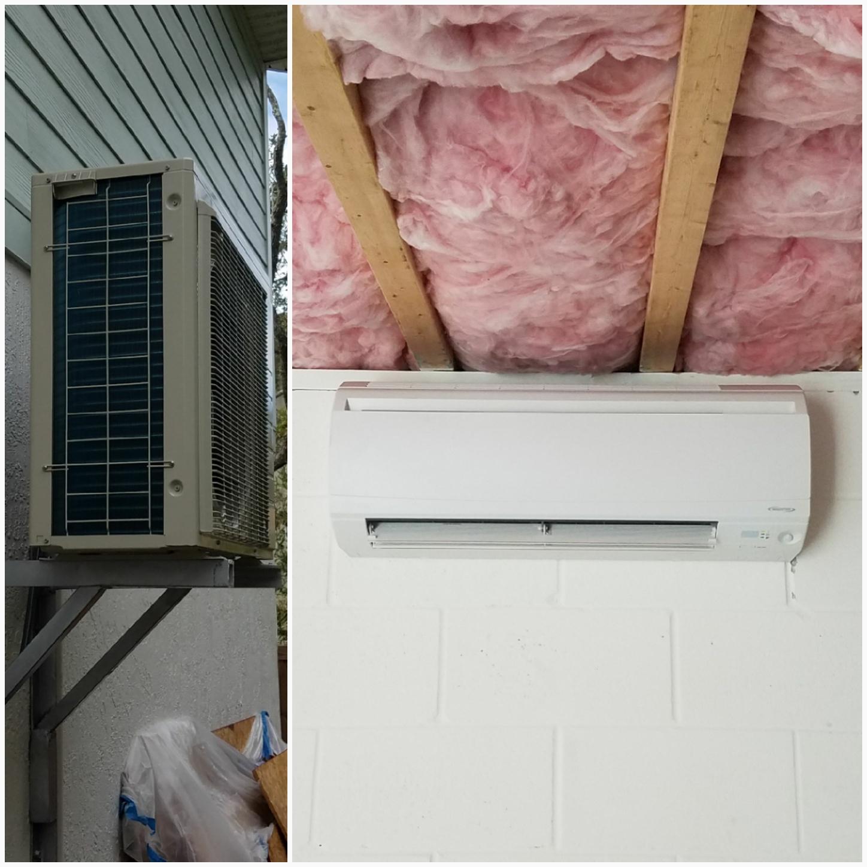 St. Augustine, FL - Installed mini split and hung condenser eight feet up on bracket
