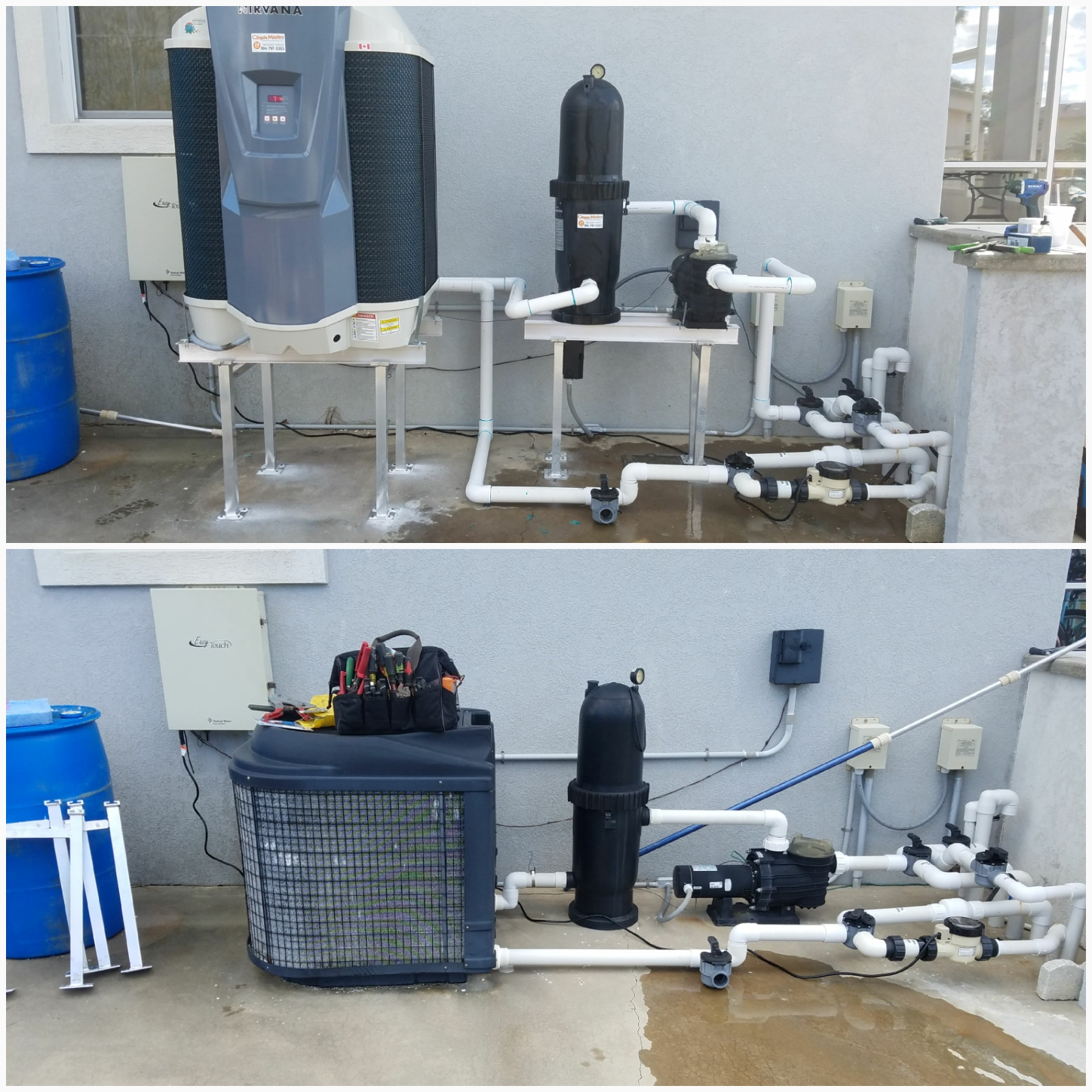 St. Augustine, FL - Changed out pool heater and raised equipment on aluminum stands