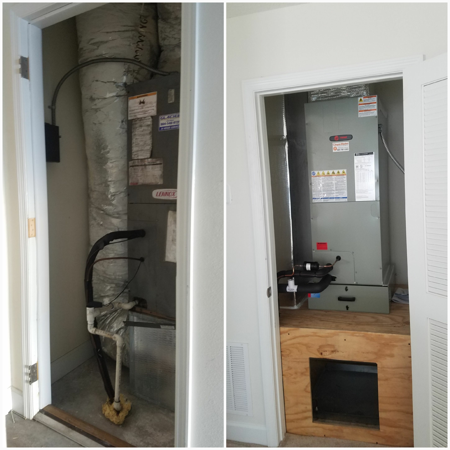 St. Augustine, FL - Changed out airhandler in closet built new platform and ductwork