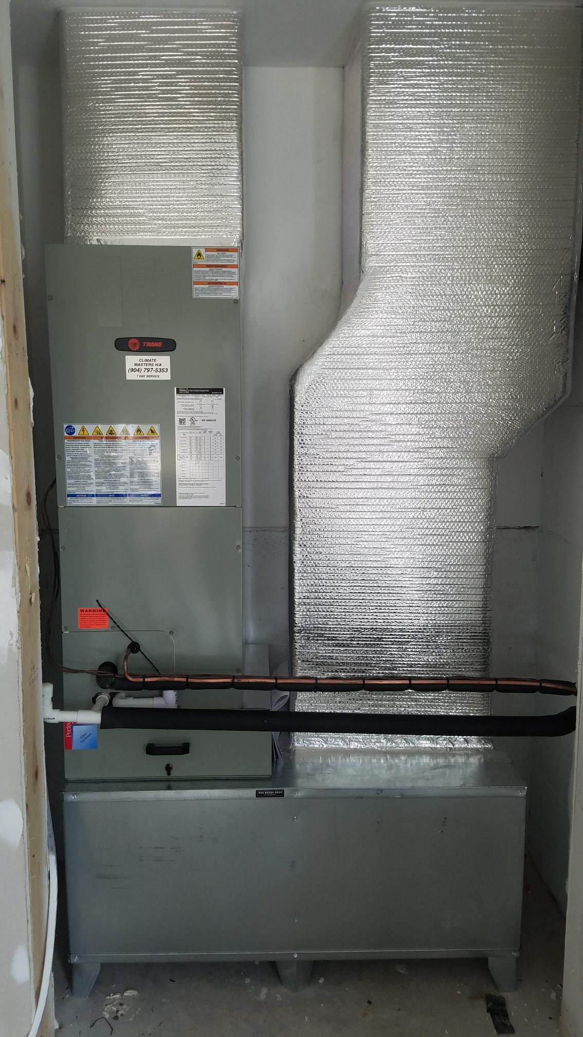 St. Augustine, FL - Installed new trane unit in garage new construction