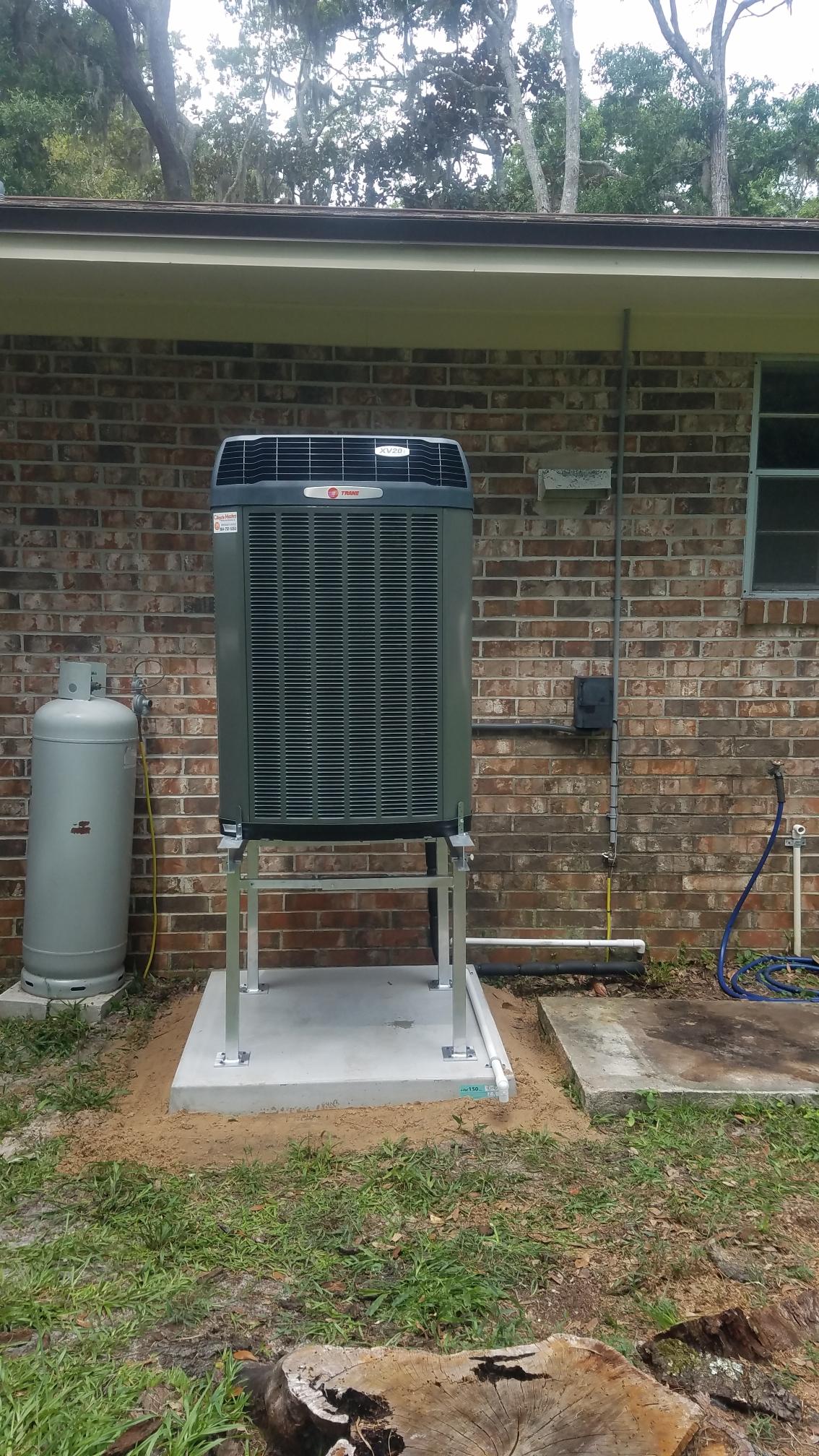 St. Augustine, FL - Installed trane 20 seer xv condenser on aluminium stand