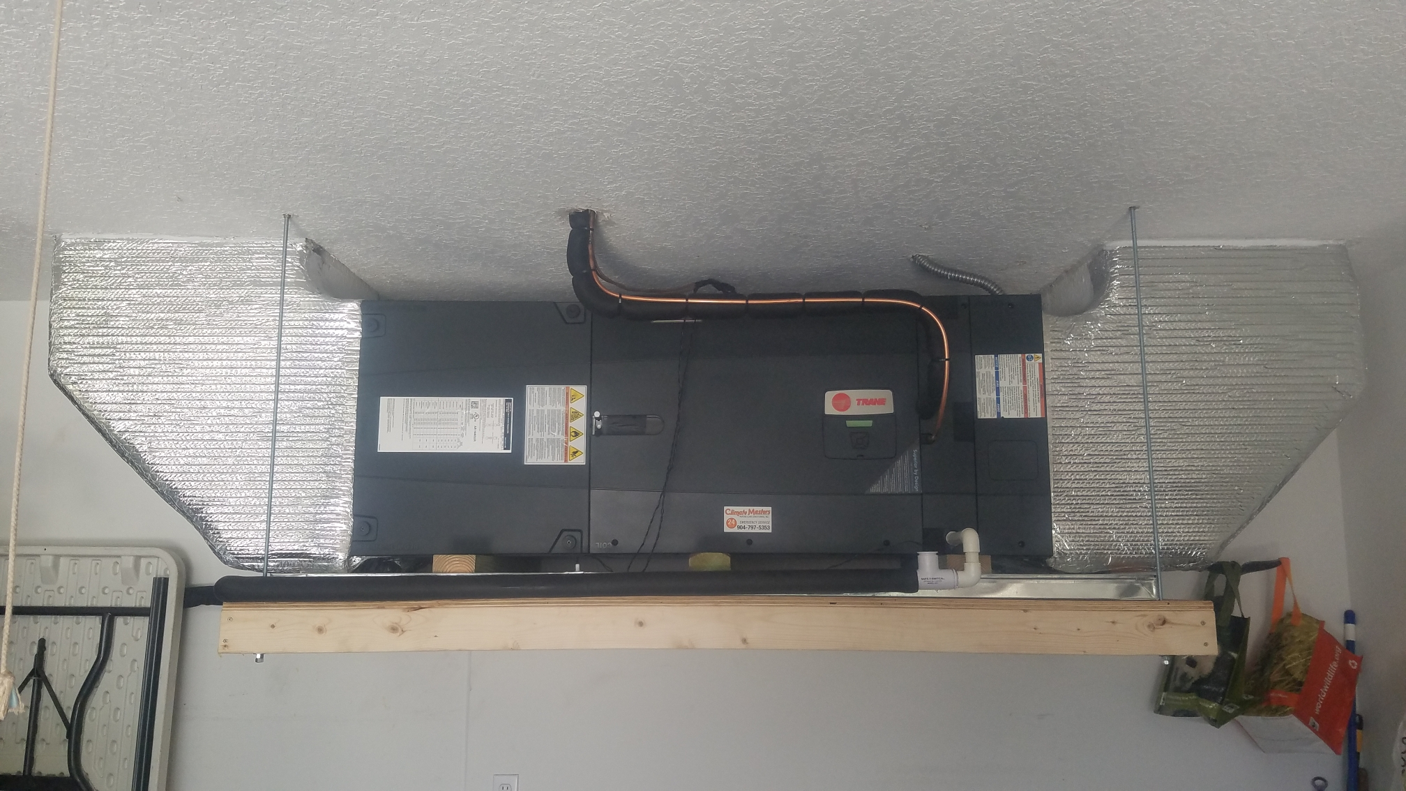 St. Augustine, FL - Installed new trane 20 seer xv unit hanging in garage