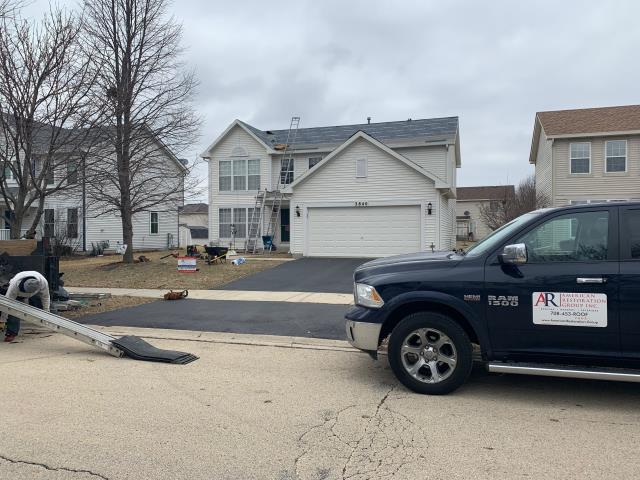 Aurora, IL - Today we are installing GAF Timerbline HD in Barkwood. Country Insurance paid for a full roof replacement due to hail and wind. Call for your FREE digital roof analysis! We will take you up to the roof without climbing a ladder! 708-453-ROOF 7663