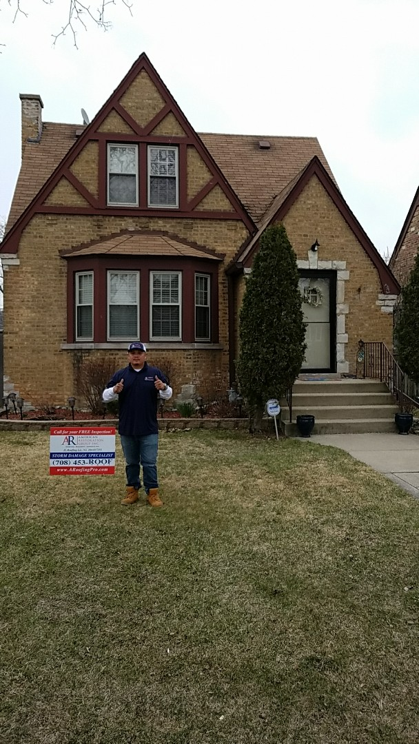 Franklin Park, IL - Homeowner has hail and wind damage from storm on roof, gutters, downspout, and window wraps, as well as garage roof. We were able to service their restoration neefs.