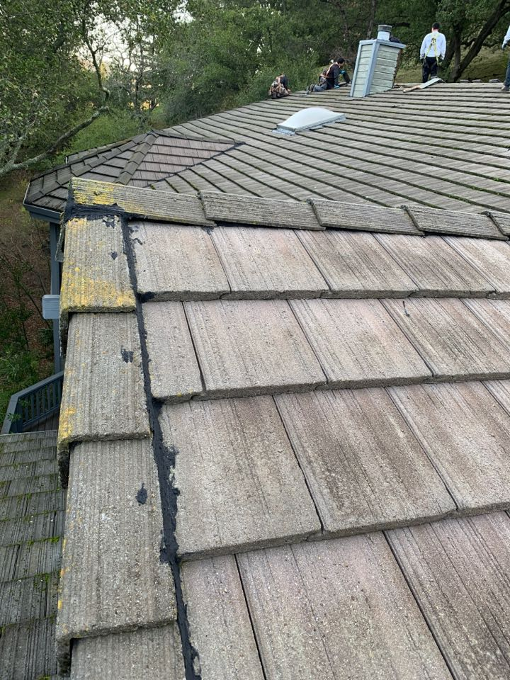 Martinez, CA - Converting this tile roof into a shingle roof. When tile isn't installed or maintained properly it can lead to roofing system failures. This homeowner was experiencing leakages on the homes Valleys and Penetrating's, with GAF roofing system the worries of leakage will be eliminated.