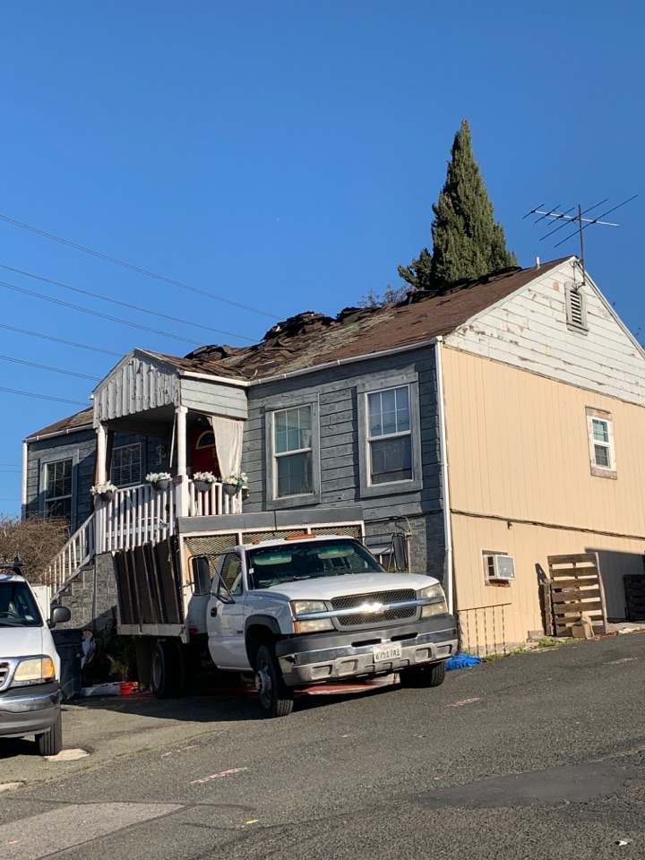Vallejo, CA - Multiple layer tear off. Once we're done with this project the house will be brought back to life with a beautiful ultra HD and a charcoal color.