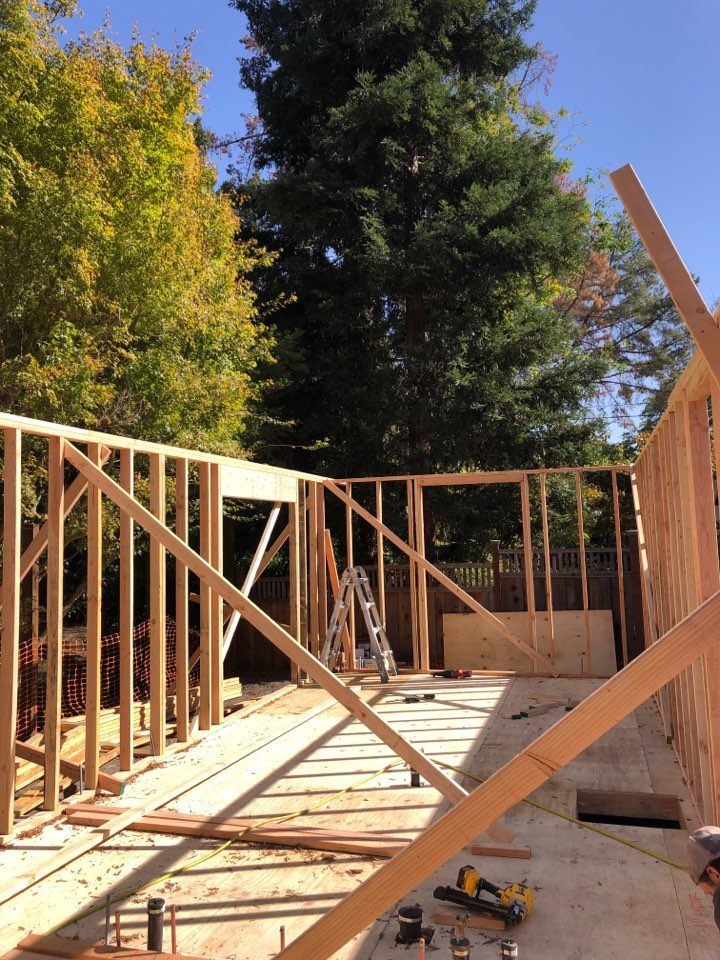Danville, CA - Framing is getting done a brand new 626 square foot ADU.