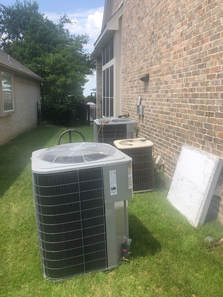 Rockwall, TX - HVAC installation - 2 new Carrier condensers today. Another happy customer