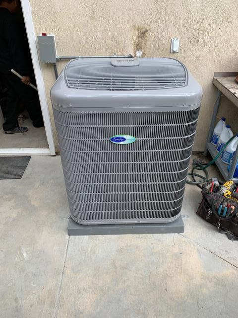 Anaheim, CA - Installed a new Carrier 5 ton variable speed condenser 20+SEER (24VNA0), Carrier 100,000 BTU modulating variable speed furnace (59MN7), ADP high efficiency coil, all new R-8 ducts and Carrier Infinity control thermostat.  Carrier rebates, SoCal Gas rebates, Anahiem rebates.  City permits and HERS testing.
