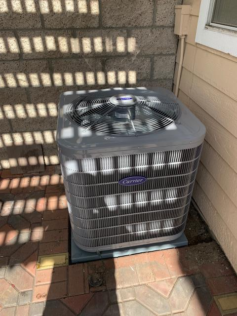 Anaheim, CA - New Carrier 3 ton 17+SEER condenser (24ACB736A003), Carrier two stage heat furnace 70,000 BTU (58CTY070116), new ADP up flow high efficiency coil (C36A), Honeywell electronic air purifier (F-300), city permits, and HERS testing.
