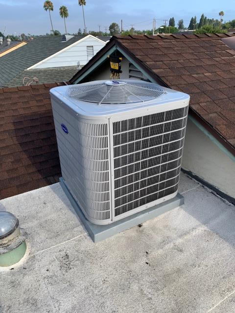 Whittier, CA - Replaced condenser.  Installed new Carrier two speed condenser 17+SEER (24ACB7).