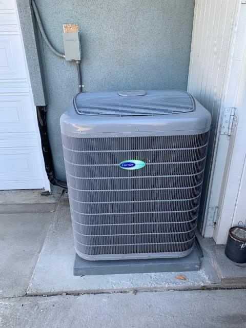 Cypress, CA - New Carrier 19+SEER variable speed air conditioning system. New ducts, and new grills