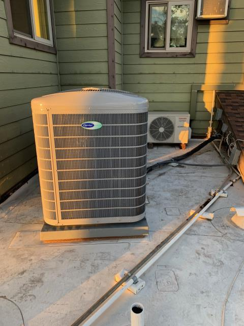 Placentia, CA - Installed new Carrier variable speed 20+SEER condenser, Carrier new Ultra Low NOx variable speed furnace, new ADP evaporator coil, Carrier Infinity control thermostat, all new flex type ducts, new deluxe grills, city permits, HERS testing, CLEANair furnace rebate and Carrier rebate.