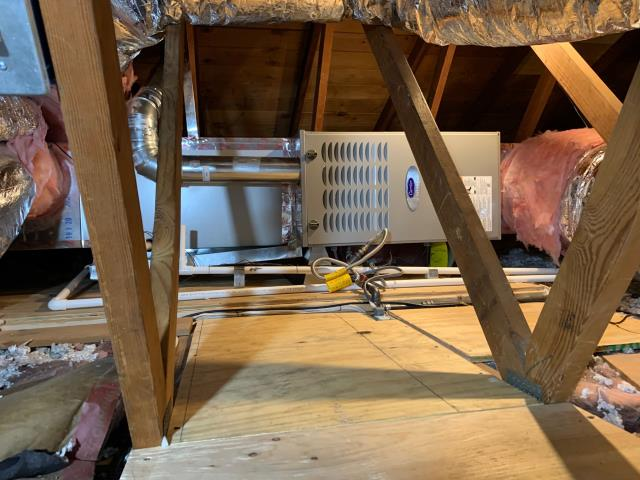 Cerritos, CA - Move furnace to attic, new Carrier  Ultra Low NOx furnace, Carrier variable speed 19+SEER condenser, remove Asbestos ducts, all new ducts, all new grills, HERS testing, city permits, Carrier cool cash rebates, CLEANair furnace rebate.