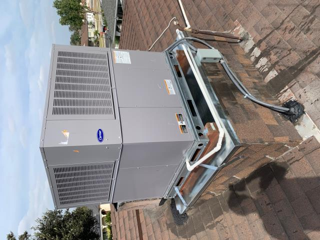 Fullerton, CA - no heat, new furnace, new Carrier package unit, New package unit on roof, new ducts, new Honeywell thermostat