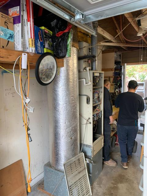 Garden Grove, CA - no heat, old furnace, new furnace, Carrier furnace, Carrier air conditioning, new ducts, new grills, Air Purifier, Honeywell Thermostat