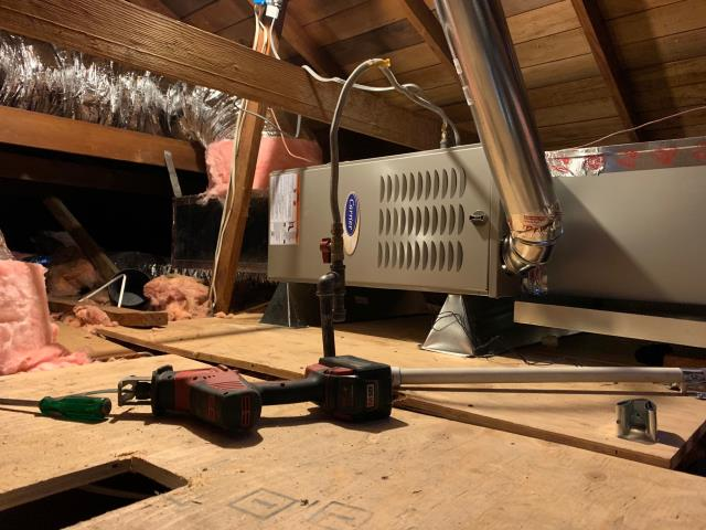 Fullerton, CA - Installed a new Carrier two stage heat furnace (58CTY) and two speed 16+SEER condenser (24ACB7).  Also relocated furnace from closet to attic area.
